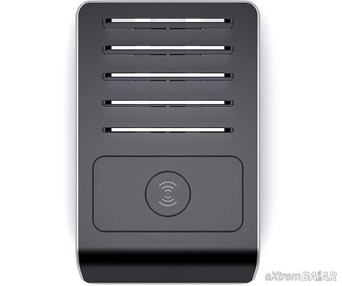 USB töltőállomás dokkoló 4port / 3USB 1 type C /, vezetéknélküli töltéssel állványos töltőállomás