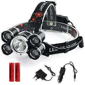 5 LED-es fejlámpa, újratölthető és vízálló kapcsoló, 4 LED-es világítási mód, 2x18650 Battery