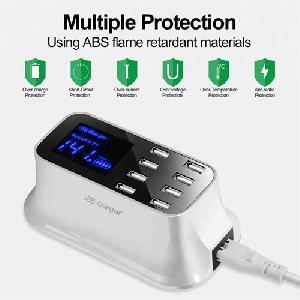 8-portos asztali USB gyors töltő adapter, LCD-kijelzővel, [QC3.0] WHS ORIGINAL( WISDOM )