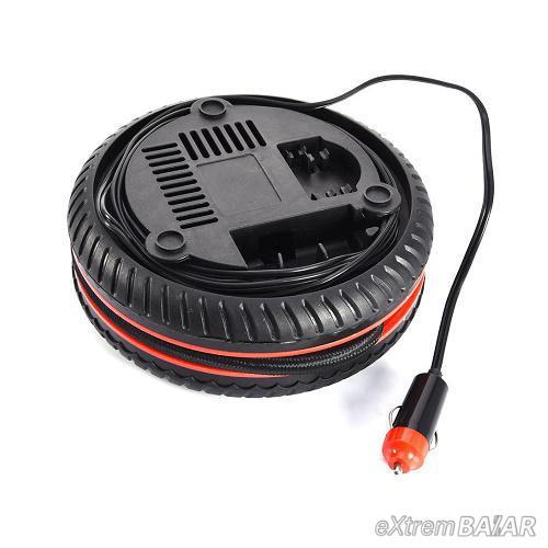 Mini kerék formákú autós kompresszor szivargyújtós csatlakozóval / 18 bar, 260PSI