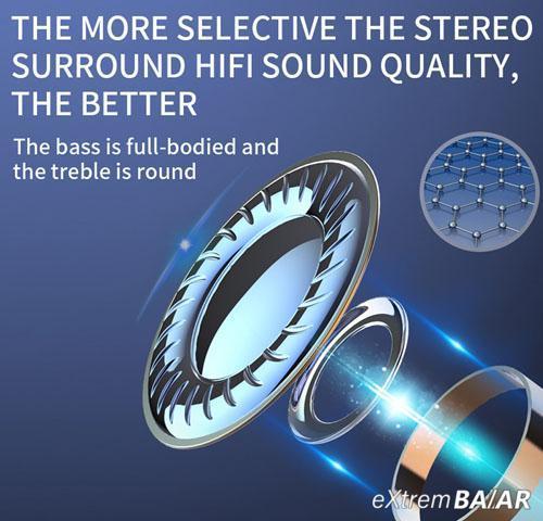 Vezeték nélküli fülhallgató BQC-01 beépített Bluetooth 5.1, Sztereó LED kijelzős tokkal