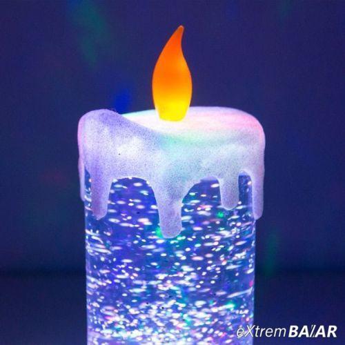 Színes LED gyertya mozgó folyadékkal és csillámmal