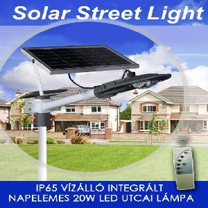 Vízálló integrált napelemes 20W utcai led lámpa IP65  távirányítóva - Cclamp CL-320 -
