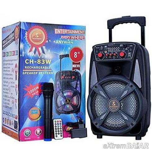 """Vezeték nélküli hordozható hangszóró mikrofonnal 8"""" CH-83W karaoke"""
