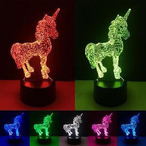 Creative 3D LED távirányítós lámpa - Unikornis
