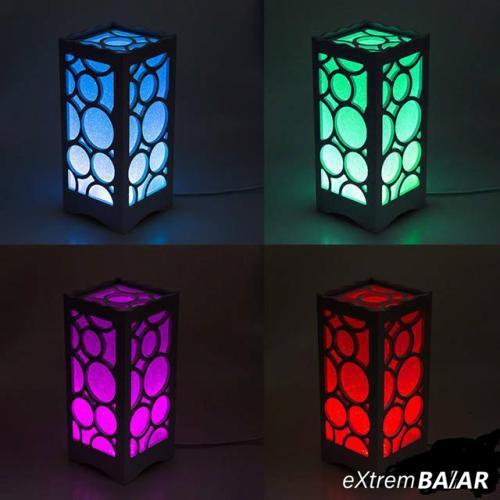Váltakozó színű RGB LED távirányítós asztali dekorációs lámpa