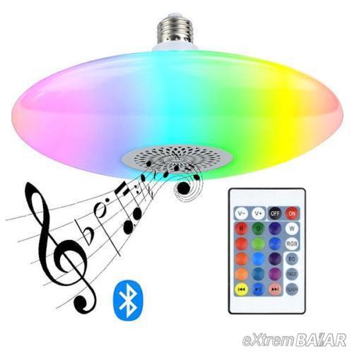 Bluetooth színváltós lámpa E27 foglalattal, távirányítóval, kihangosítás funkcióval