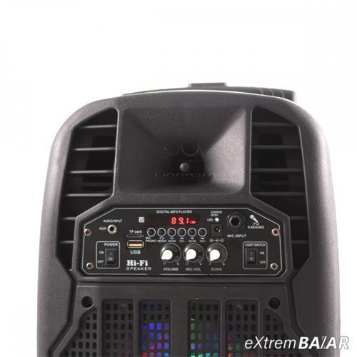 """FEIYIPU ES-83, 8 """"aktív hangszóró LED-es lámpákkal, vezeték nélküli mikrofonnal és távirányítóval, 50W"""