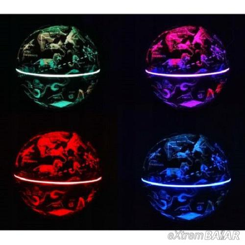 Aroma diffúzor / ultrahangos párásító, földgömb alakú, 10W, RGB Led, 300ml kapacitás