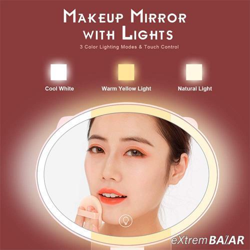 Smink tükör LED háttérvilágítással,  Érintésvezérlés 3 világítási mód, hordozható Doboz