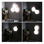 Színes, moduláris LED világítás készlet – 7 darabos / méhsejt forma, érintésérzékeny