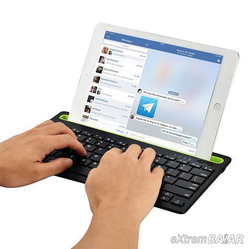 Multi-platform Bluetooth billentyűzet - tablet- és telefontartóval