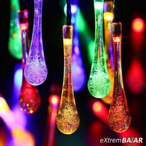 Napelemes Karácsonyi LED égősor, Kerti Fényfüzér, Kültéri, Színes Esőcsepp