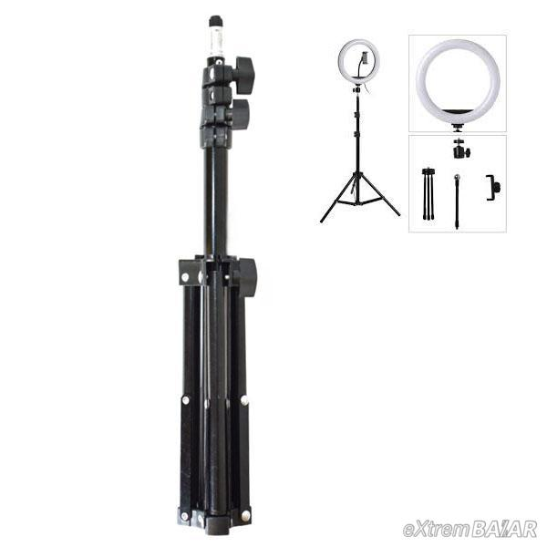LED gyűrű selfie lámpa, állvánnyal, Nagy LED körfény mobiltelefonhoz 26cm