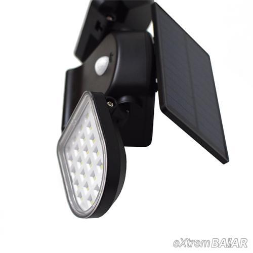 Biztonsági, 56 ledes napelemes fali lámpa, fény- és mozgásérzékelővel