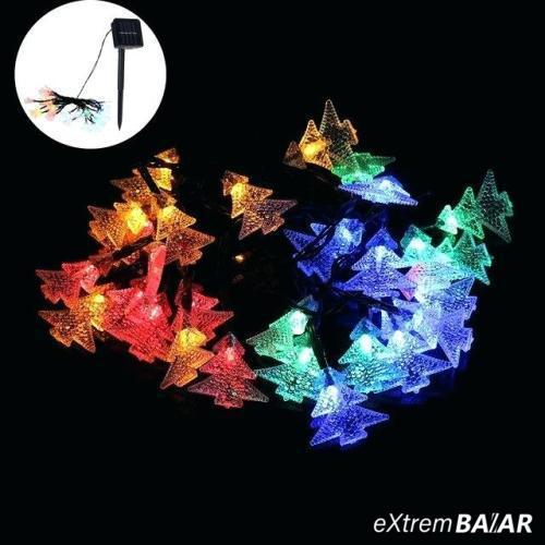 Napelemes LED égősor, fényfüzér - Fenyőfa