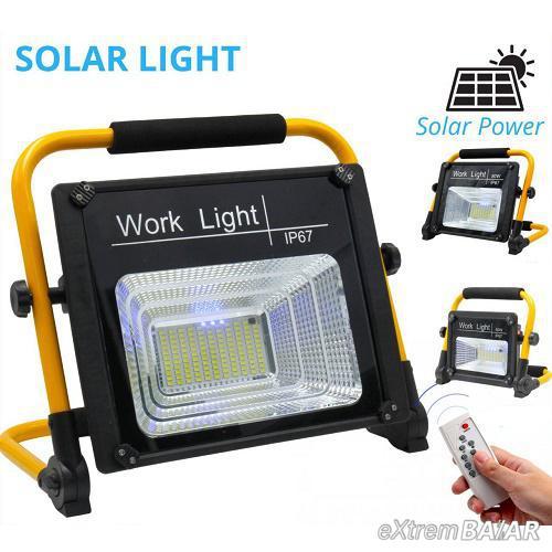 Napelemes szolár LED reflektor, munkalámpa távirányítóval 50W IP67 W743A