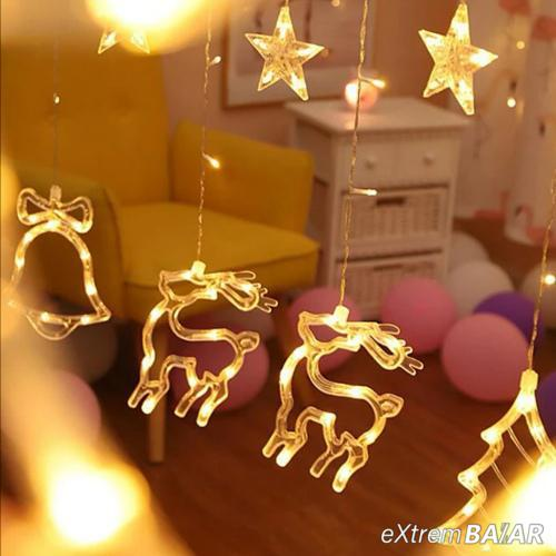 Led fényfüggöny, csillag, szarvas, fenyőfa