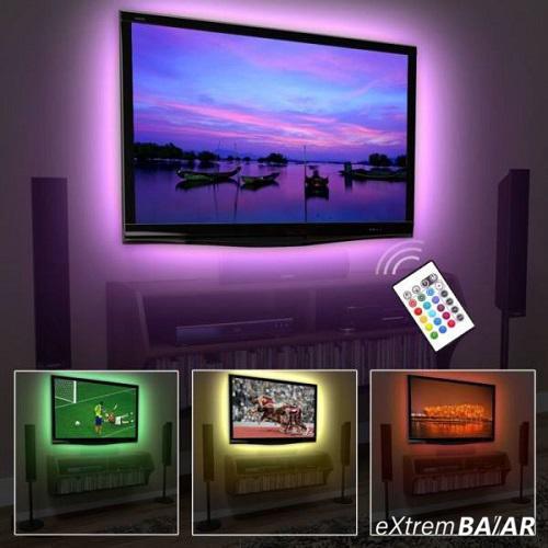 Színes LED TV világítás / vízálló USB RGB LED szalag - 300 cm, vágható