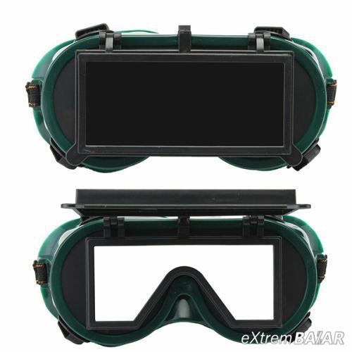 Gumipántos hegesztőszemüveg felhajtható védőüveggel