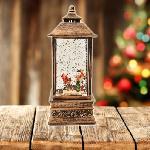 Karácsonyi LED lámpás, 22 cm / Zenél, világít, mikulással