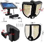 Biztonsági, 90 ledes napelemes fali lámpa, fény- és mozgásérzékelővel, távirányítóval