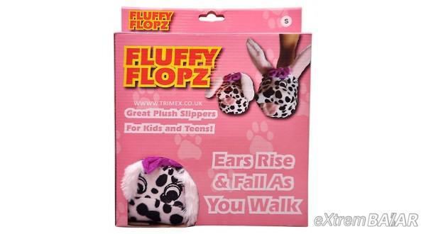 Fluffy Flopz Bolyhos Plüss papucs gyerekeknek és fiátaloknak mozgatható Fülekkel