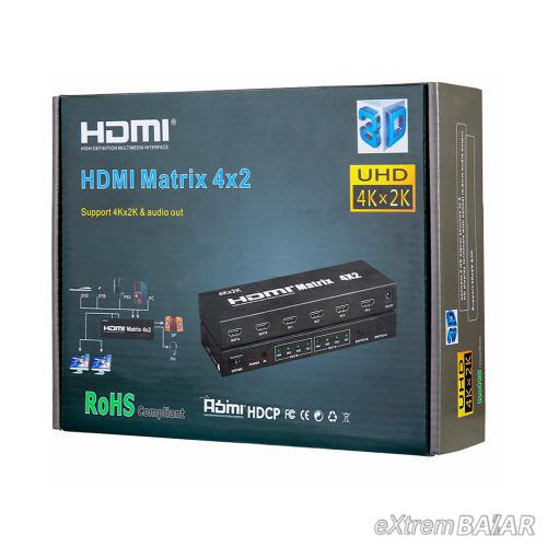 HDMI Matrix Switch 4x2 4K*2K , 3D 1080P V1.4 for HDTV XBOX DVD PS3 Projector
