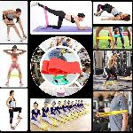 Erősítő fitnesz szalag szett, edzéshez – gumiszalag / 5 féle erősséggel