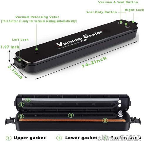 Vacuum Sealer - Élelmiszer légzáró gép Vákuumcsomagoló, Vákuumtömítés- 10 db tasak ajándék