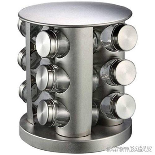 Zurrichberg 12 részes fűszertartó készlet forgatható fém állvánnyal