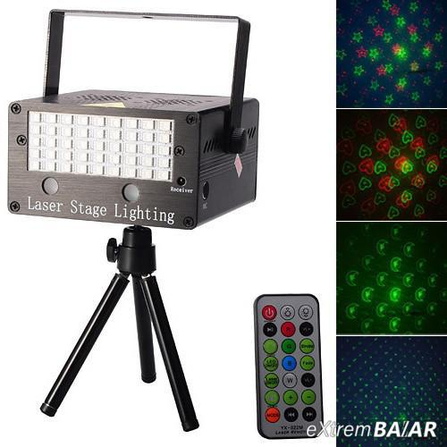 Disco fény YX-022M Mini LED Full Color and Laser MP3 Stage Lighting Projector w/ Remote Control / Tripod - Black