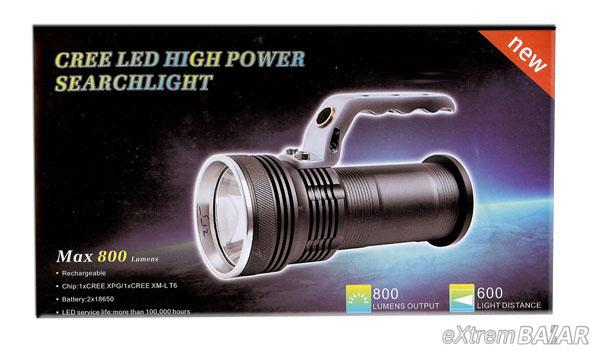 Cree Led High Power Searchlight Max 800 Lumens Led Flashlight (Black)Tölthető zseblámpa 2elemmel GREE XML T6