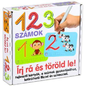 123 számok fejlesztő kártyák - Írj rá és töröld le!