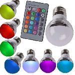 4W LED RGB izzó E27 GU10 LED izzó, 16 színben, távirányítóval