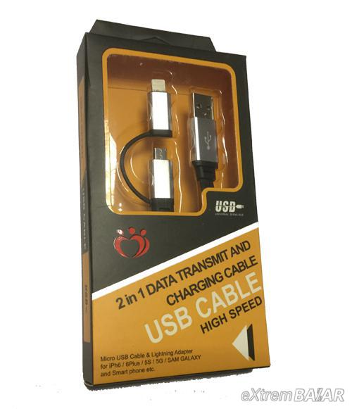 USB CABLE 2 IN 1 Data Trasmit and Charger HIGH SPEED  2.0