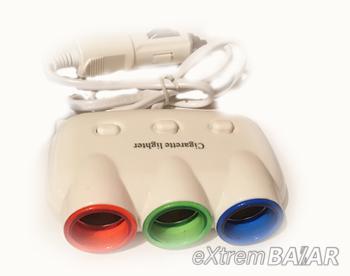 Szivargyújtó elosztó 3-as+ 2 USB 5V- 3100mA 120W New CHEYUEMEI