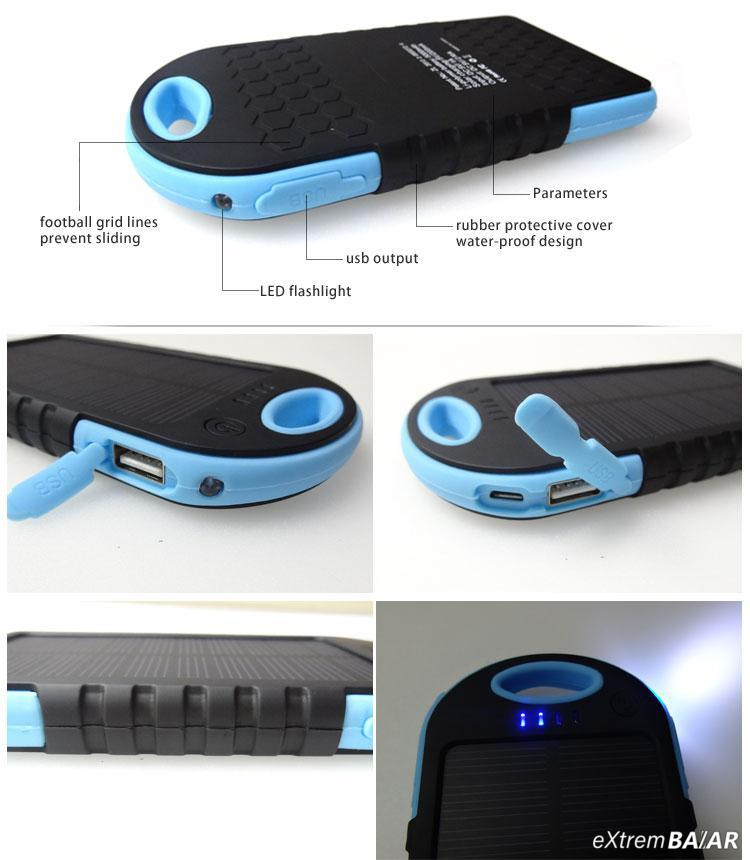 Napelemes Power Bank túrához, 16000 mAh 2X USB + LED