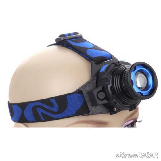 Tölthető FEJLÁMPA  zoom LED fényszóró CREE  2000 lumenes  Beépített akkumulátor No2482