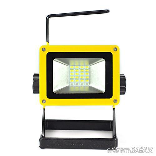 LED Reflektor 30W újratölthető 2400LM + jelzőfény áradat ( píros,kék)