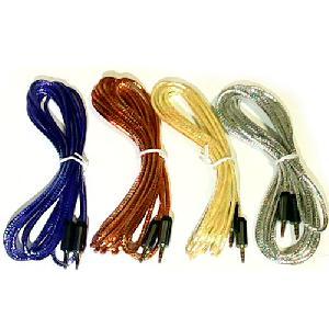 Audió kábel 3,5 mm-es audio Jack kábel AUX  fém fej kristál metál 5 méter NO: 17581