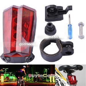 Kerékpár Laser hátsó lámpa (2 lézer + 5 LED) 500mW 625 nm Bike biztonsági fény