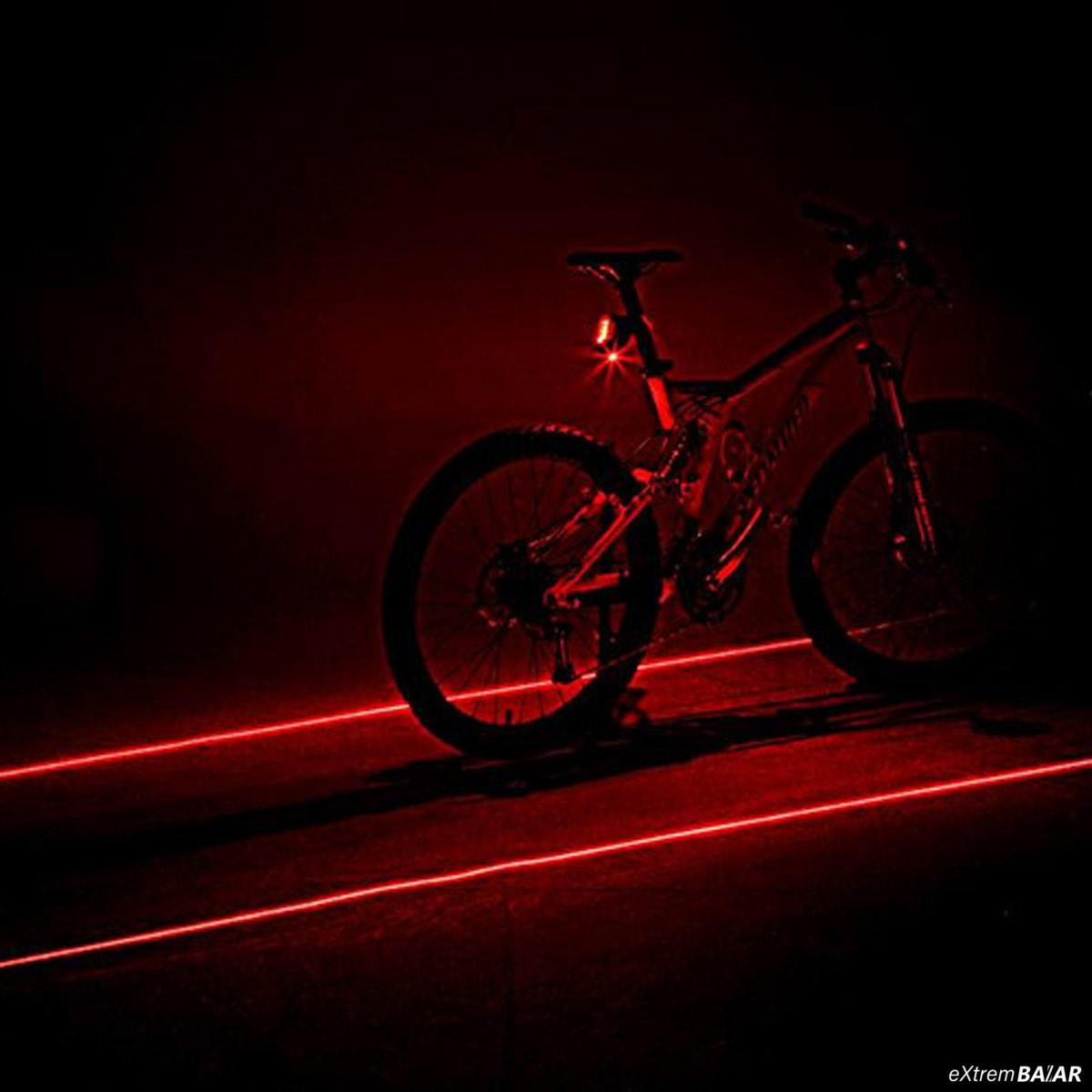 Kerékpár Laser Hátsó lámpa 2 Laser kisugárzás + 5 LED Bike