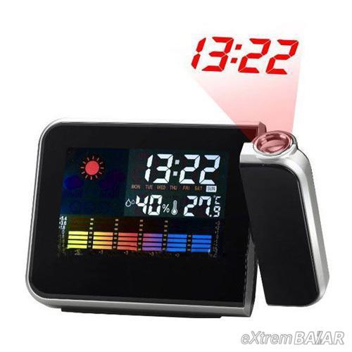 Színes kijelző Naptár vetítő, digitális LCD időjárás ébresztőóra,állomás, Hőméró kivetítő 8190