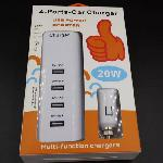 Autós Szivargyújtó Univerzális USB autós töltő 4-port 20W Power Adapter LED kijelzővel 1.2 m