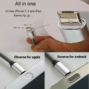 LM USB töltő és adat cable  kétoldalas IOS és Android Közös csatlakozó iPhone, iPad, Android, Samsung, LG