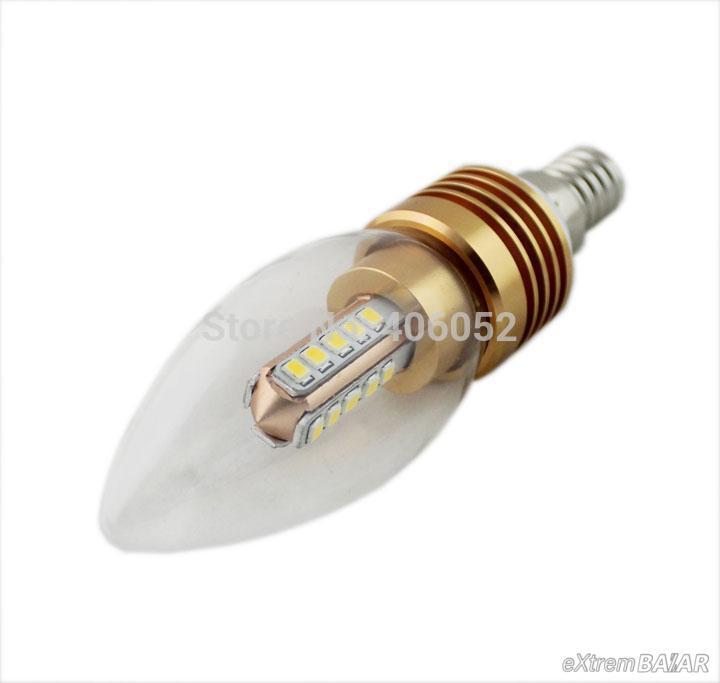 Tiszta LED Gyertyafény 4W, 220 melegfehér dekoratív, Gyertya izzó E14