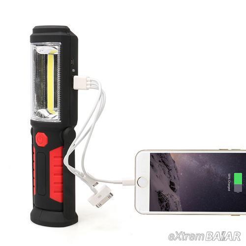 Zseblámpa - 1+1 cob work torch (mágnes + kampó + állvány + mobil töltés)