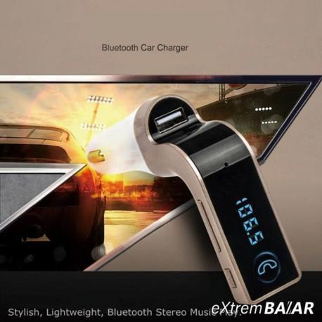 CAR G7 Bluetooth autós FM Transmitter MP3 lejátszó / Kihangosítás / USB töltő / TF Ezüst