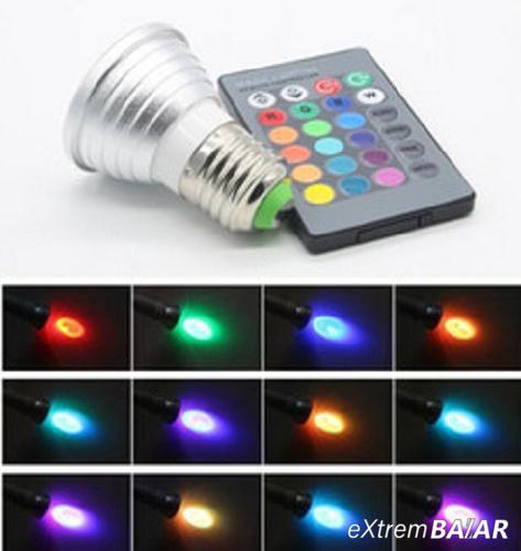 5W LED RGB izzó E27 GU10 LED izzó, 16 színben, távirányítóval